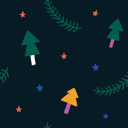 Simple christmas pattern with cute christmas trees and stars, hand drawn scandinavian style for babies and kids. Good for wrapping paper, gift card or textile print.
