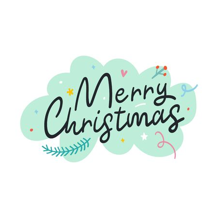 Merry Christmas lettering phrase with green background and hand drawn doodles. Good as sticker, card, or banner. Handwritten phrase for greeting card.