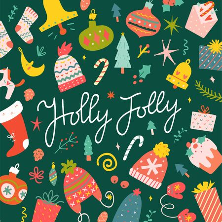 Christmas greeting card design with hand drawn vector clip arts. Holly Jolly lettering, handwritten phrase surrounded with cute cartoon doodles. Festive symbols of december celebration. Goog as banner