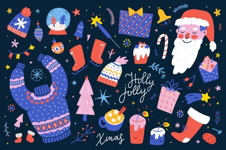 Collection of christmas hand drawn vector isolated illustrations. Colored winter symbols in doodle cartoon style, christmas greeting card creator, sweater and knit hats with ornaments, santa claus.  イラスト・ベクター素材