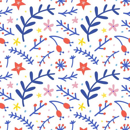 Seamless pattern with christmas floral elements, fir and spruce branches, red berries. Cute winter hand drawn cartoon illustration background. Christmas and New Year fashion prints, wrapping paper  イラスト・ベクター素材