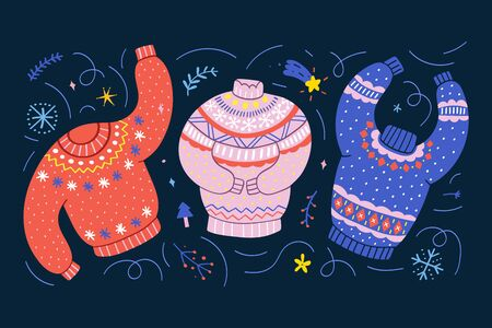 Colorful sweaters decorated with christmas ornaments. Traditional christmas ugly sweaters with embroidery. Cute hand drawn cartoon style, colorful vector illustration. Good as banner, greeting card.