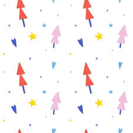 Seamless abstract pattern with fir trees. Cute winter hand drawn cartoon illustration with simple doodle elements and decorations, vector backdrop.