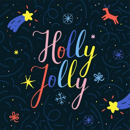 Christmas vector banner with handwritten holly jolly lettering text. Cute hand drawn doodle style, holly jolly colorful phrase decorated with illustrations on black background.