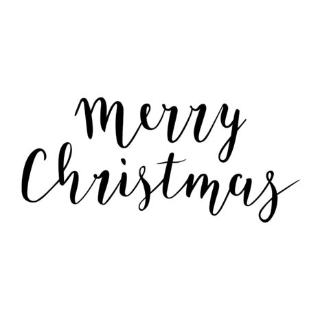 Merry Christmas handwritten script lettering writing, black vector brush pen drawing for banners, greeting and gift cards and invitations.