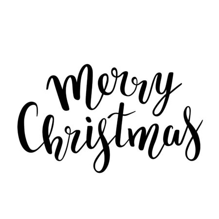 Handwritten phrase Merry Christmas for christmas cards, gifts and banners, beautiful bouncing writing. Vector lettering isolated on white background
