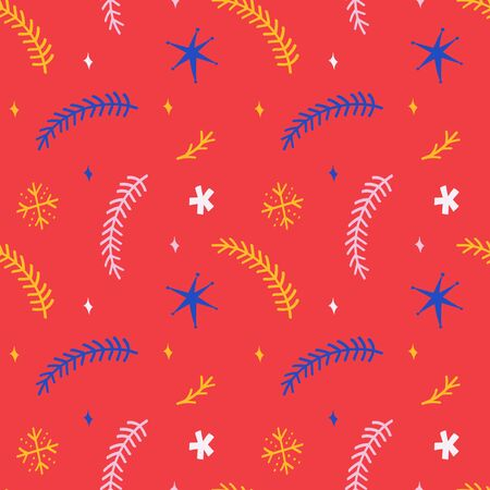 Seamless vector pattern for christmas wrapping paper design for gift packaging. Simple stars, fir branches, snowflakes and doodles, red colorful festive background. Hand drawn vector illustrations. Foto de archivo - 133415872