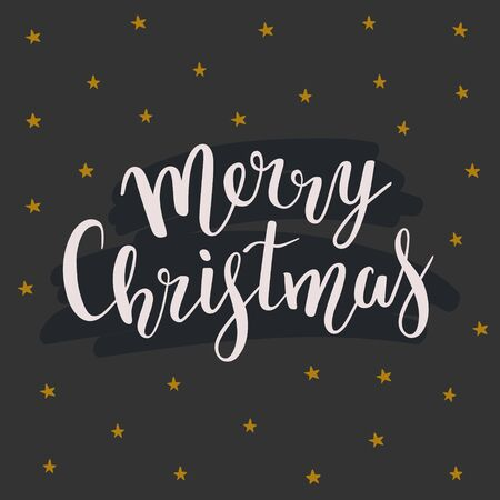 Simple Christmas black background with merry christmas lettering and  stars. Beautiful elegant handmade writing with elegant bouncing letters. Vector template for card, banner or poster.