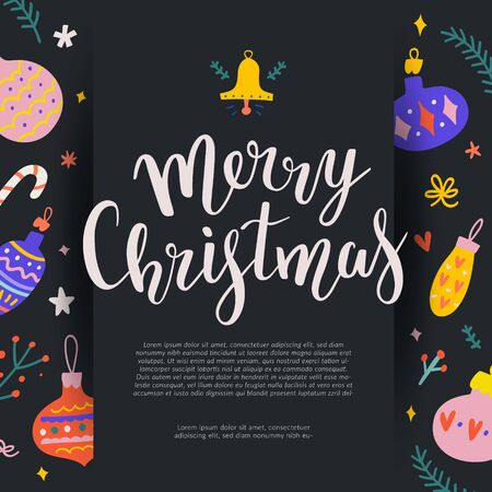 Merry Christmas vector banner design template for greeting or gift card, web site promotion or print poster. Black 3d effect layout with elegant lettering writing, bouncing script letters.  イラスト・ベクター素材