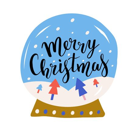 Christmas glass ball vector illustration with elegant bouncing lettering writing isolated on white, snow and christmas fir trees. Merry christmas phrase decorated with hand drawn cartoon illustrations  イラスト・ベクター素材