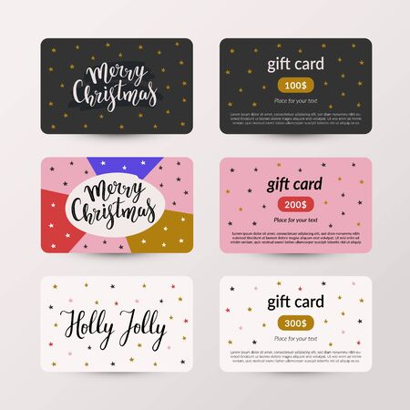 Collection of christmas gift card vector layouts, set of voucher templates for christmas sales, modern hand drawn illustrations and doodles with handwritten lettering, 2 side design.