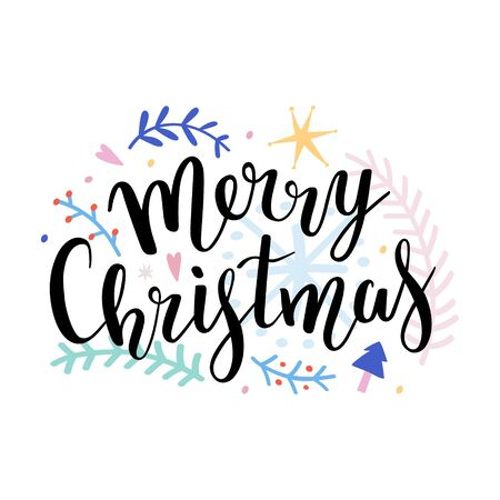 Merry christmas vector composition template with script bouncing lettering phrase and decorative doodle illustrations, colorful template for postcard, isolated on white, good for banner, greeting card