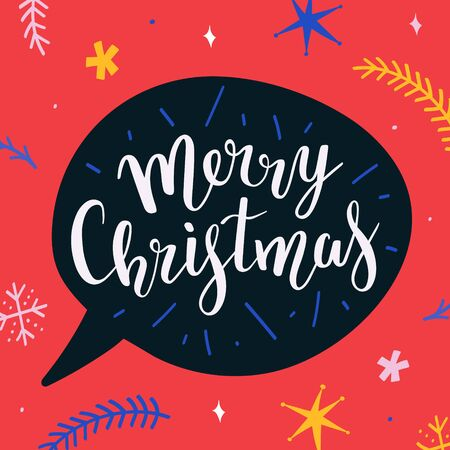 Merry christmas vector banner template with beautiful bouncing lettering writing and decorative background with doodle illustrations, colorful template for postcard, banner, greeting or gift card.  イラスト・ベクター素材
