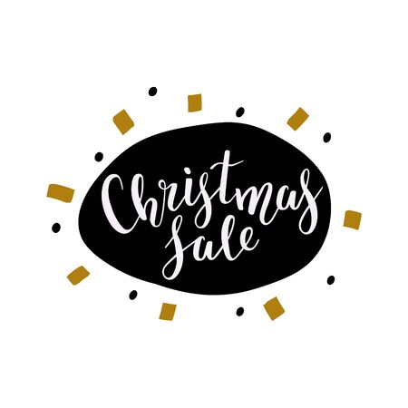 Christmas sale banner with hand drawn balloon backdrop and doodles. Handwritten elegant lettering text with bouncing letters, good for banner, sign, sticker or gift card design.