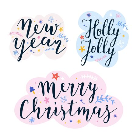 Collection of christmas and new year lettering ready compositions for greeting cards, posters or banners. Set or pre-made compositions with doodles and hand drawn illustrations for ready card design.