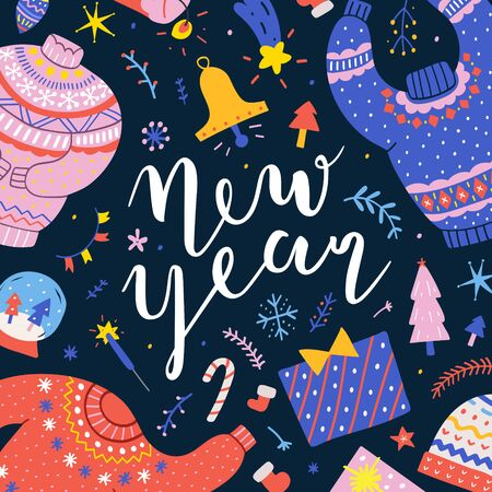 New year banner with colorful cartoon illustrations on black background, christmas symbols. Vector square template for greeting card, social media post or print poster. ready to print poster or card.