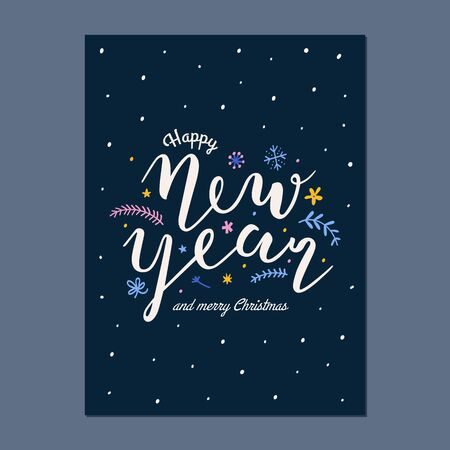 Happy New year ready to print greeting card design with beautiful brush pen writing, vector template for banner or postcard, bouncing modern lettering with hadn drawn doodles.
