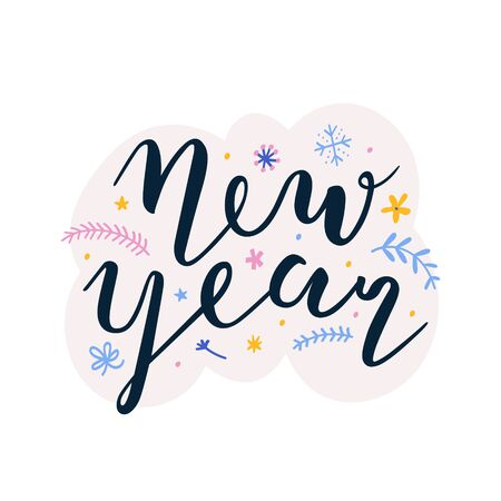 New year lettering handwritten ink phrase for card, banner, brochure or poster. Beautiful handmade writing with brush pen, vector design template.