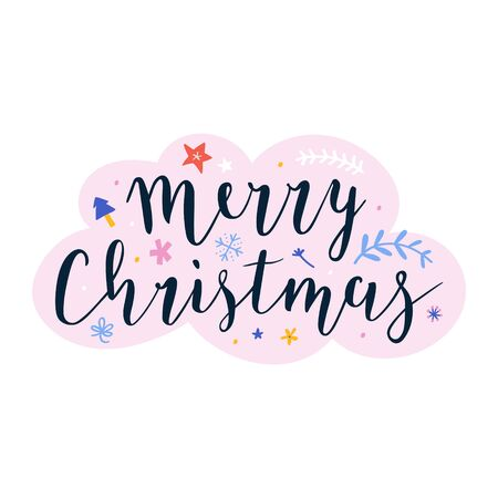 Merry Christmas lettering handwritten phrase, banner, greeting card, or print poster. Beautiful handmade writing with brush pen, vector template. Isolated vector arrangement, festive symbols.