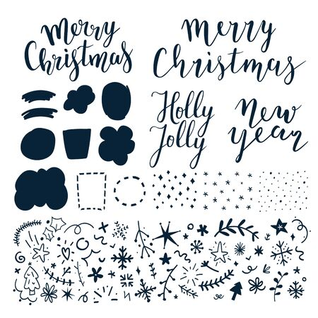 Collection of vector lettering phrases, doodles, hand drawn illustrations, frames, backgrounds and bubbles for chistmas and new year card or banner design. Greeting card creator, isolated elements