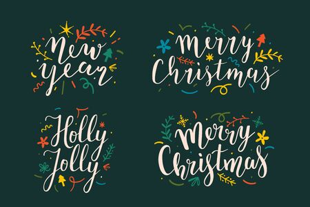 Collection of christmas and new year lettering script bouncing writings good for cards, posters or banners. Set or pre-made arrangements with doodles, floral elements for ready card design.  イラスト・ベクター素材