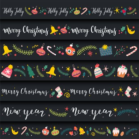Christmas frames and borders, vector decorative ribbon ornaments made of illustrations and lettering phrases, good for banner of card design or washi tape. Cute cartoon hand drawn doodles.
