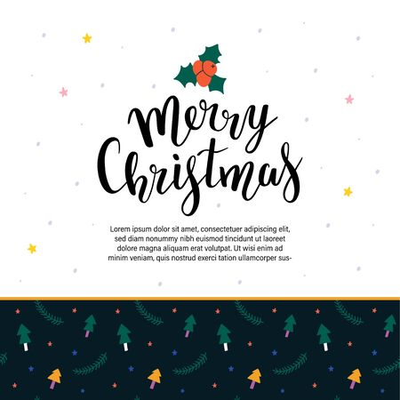 Simple vector pre-made layout for christmas greeting card or banner design. Place for your text. Decorative backdrop with handwritten lettering, merry christmas congratulating phrase brush calligraphy  イラスト・ベクター素材