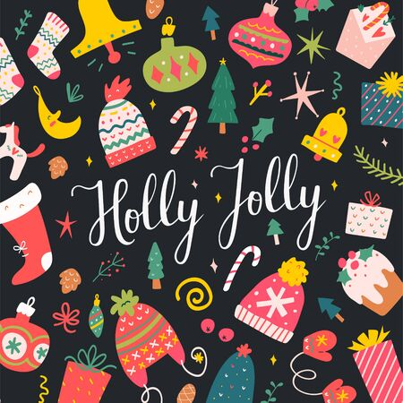 Holly jolly lettering writing on a colorful christmas card with cute doodles and illustrations. Vector design template for greeting card, banner or social medial post. Pre-made hand drawn artwork.  イラスト・ベクター素材