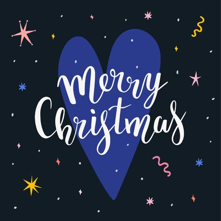 Modern christmas greeting card with doodles and handwritten lettering phrase, pre-made template for web or print design. Congratulating merry christmas phrase on heart shaped background.