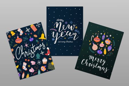 Collection of christmas cards with colorful hand drawn illustrations and handwritten lettering with congratulation text. Happy new year and merry christmas pre-made design for greeting card or banner.  イラスト・ベクター素材