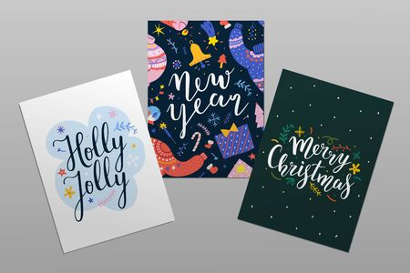 Merry Christmas and happy new year pre-made cards with lettering. Beautiful calligraphy writing with doodle illustrations. Abstract design, printable postcards with typography, posters or banner.