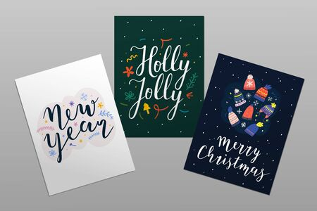 Merry Christmas and happy new year card  templates with lettering. Holly jolly calligraphy with doodle illustrations. Abstract design layouts, pre-made postcards with typography, posters or sticker.  イラスト・ベクター素材
