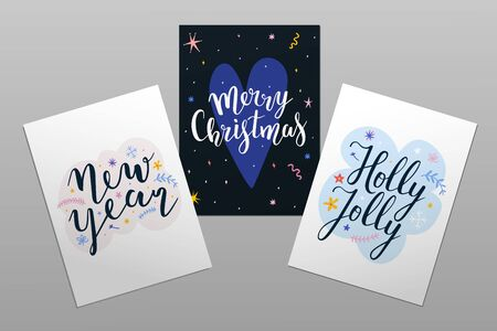 Merry Christmas cards templates with lettering. Holly jolly calligraphy phrase with doodle illustrations. Abstract design templates, pre-made invitations with typography, posters or greeting cards.