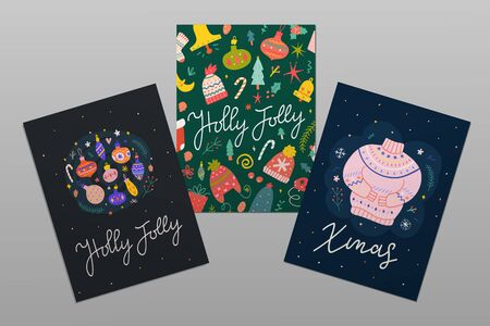 Set of hand drawn Christmas greeting cards with hand lettering calligraphy words and doodle illustrations. Modern scandinavian style. Winter knit sweater with christmas ornaments. Printable templates  イラスト・ベクター素材