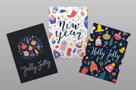 Set of christmas printable card or banner templates with doodle illustrations and handwritten lettering. Holly Jolly and New year party invtations, frame borders with calligraphy congratulations