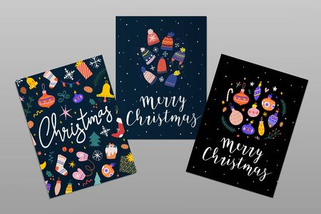 Collection of christmas printable design templates with doodle illustrations and handwritten lettering. Merry christmas decorative banners with brush pen calligraphy phrases.