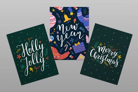 Collection of christmas card templates with hand drawn illustrations and handwritten lettering with congratulation text. Happy new year and merry christmas printable design for postcard or banner.
