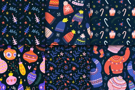 Pack of seamless vector patterns. Christmas backgrounds with knit ugly sweaters, hats, fir trees candies and decoration balls. Hand drawn doodles and illustrations, floral ornaments, winter backdrops.