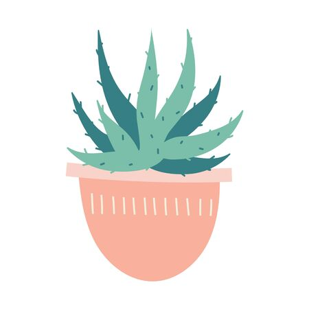 Simple vector  illustration of aloe succulent in pot. Potted green houseplant, interior decoration, isolated clip art