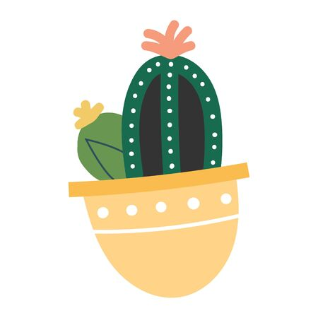 Simple vector  illustration of cactus with flower in pot. Potted green houseplant, interior decoration, isolated clip art