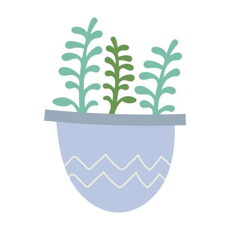Simple vector illustration of Echeveria succulent in pot. Potted green houseplant, interior decoration, isolated clip art  イラスト・ベクター素材