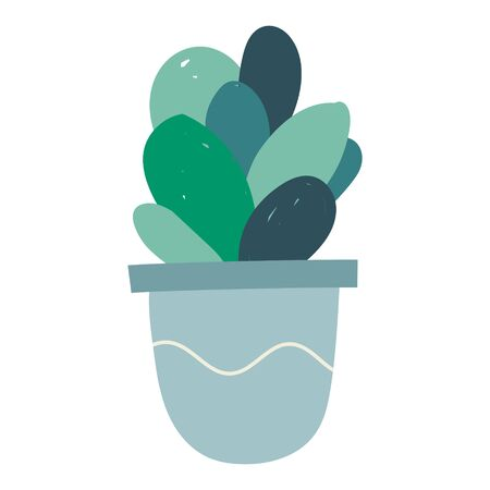 Simple isolated illustration of potted succulent green flower houseplant.
