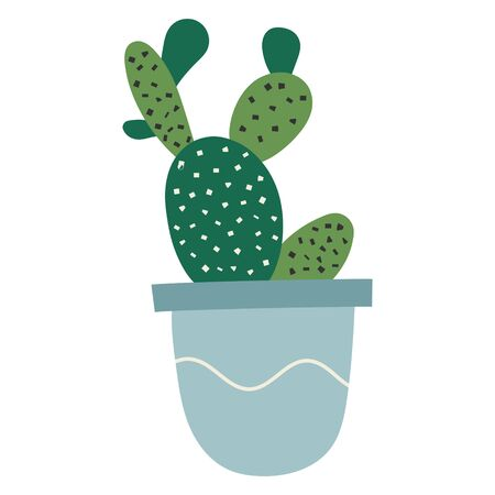 Simple vector hand drawn illustration of succulent cactus. Potted prickly pear opuntia houseplant, interior decoration, cute cartoon style