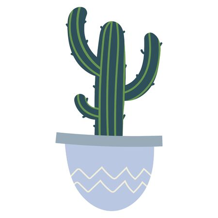 Simple vector hand drawn illustration of green cactus in pot. Potted houseplant, interior decoration, cute cartoon style  イラスト・ベクター素材