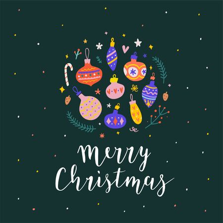 Merry christmas card with decoration balls with ornaments for fir tree. Pre-made card or banner with beautiful handwritten lettering writing, cute hand drawn style, bouncing letters. Vector template.  イラスト・ベクター素材