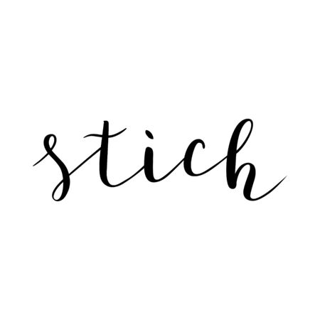 Stich vector word isolated, brush pen lettering, beautiful calligraphy writing, cursive text, good for label design.