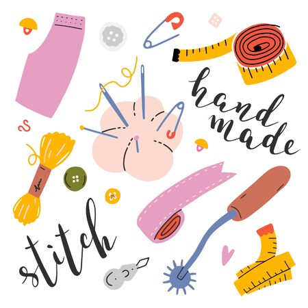 Collection of various tools and objects for sewing and handicraft. Hand drawn isolated vector illustrations. Colored clip arts with lettering. Needle cushion, measuring tape, thread bobbin, pins.