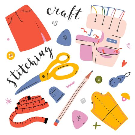 Hand collection with sewing and handicraft tools and accessories: overlock sewing machine, scissors, needles, metering, button,chalk, thimble, paper pattern. Vector illustrations for atelier or studio Illusztráció