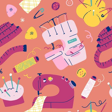 Sewing illustrations, overlock sewing machine, needle pad, measuring centimeter tape and thread bobbins, modern creative colorful background for seamstress, tailor or workshop, seamless vector pattern