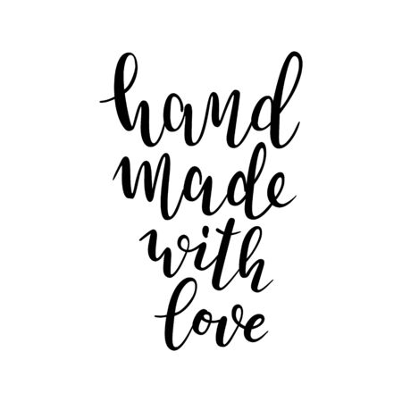 hand made with love writing, isolated vector lettering, brush pen calligraphy, inspiration quote for craft studio. Handwritten typography, good as t-shirt print or label design